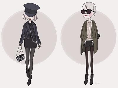 girls fashion vector girls illustration