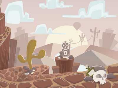 Piece of an artwork for game background design game ios graphics vector iilustration mexico skull desert totem hills