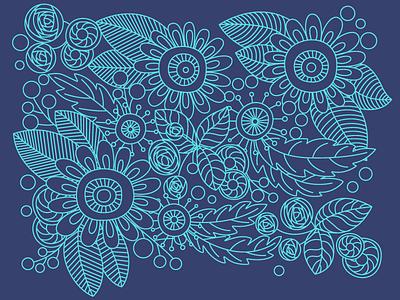 Floral pattern   work in progress pattern flowers lineart vector illustration