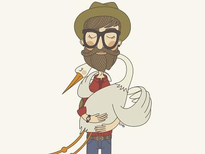 A Man And A Goose man goose vector art illustration hipster beard friends bird portrait