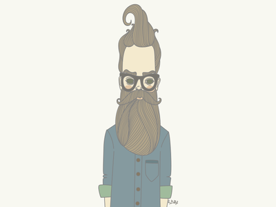 Bearded Man man vector art illustration hipster beard portrait lineart