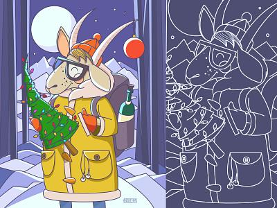 Happy New Year! :) winter vector illustration ny newyear 2015 tree goat cozy night snow greetings