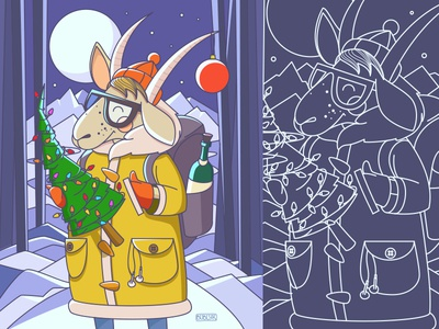 Happy New Year! :) winter vector illustration ny newyear 2015 tree goat cozy night snow greetings