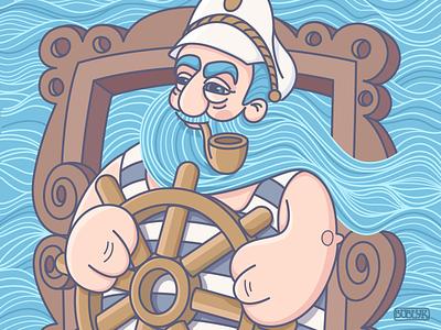 Sea adventures beard vacation stripes blue water man flat vector adventure sea sailor