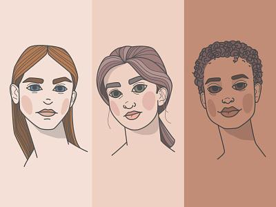 Girls nude sketch doodle concept line flat illustration model girl portrait vector