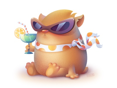 Hamster vector glasses vacation summer drink cocktail doodle animal sketch hamster illustration