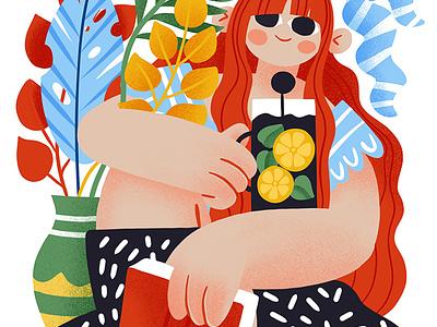 Perfect evening ipad procreate redhead poster reading book socks tea plants summer cartoon girl flat portrait illustration vector