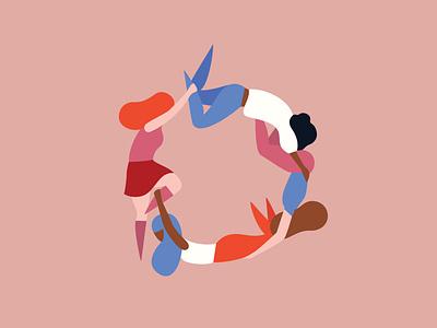 Women together stronger women illustration