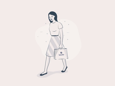Parisian girl walking with delivery food - WIP - strokes delivery illustration