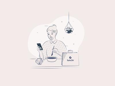 girl eating on a desk strokes delivery illustration
