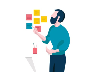 Design thinking boy colors illustration