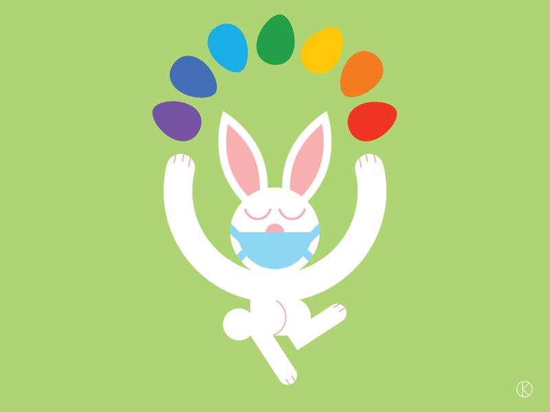 Lockdown Easter Bunny rainbow eggs rainbow easter bunny easter easter eggs character design art vector illustrator illustration