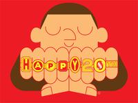 Joe's 20th birthday card son birthday card birthday letters art vector illustrator illustration