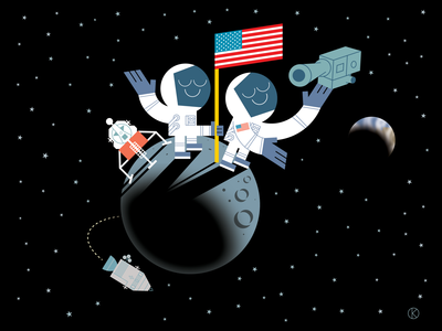 50th Year Anniversary of NASA's Apollo 11 mission to the moon space exploration one giant leap for mankind one small step for man astronaut space earth lunar module stars moon character design art vector illustrator illustration