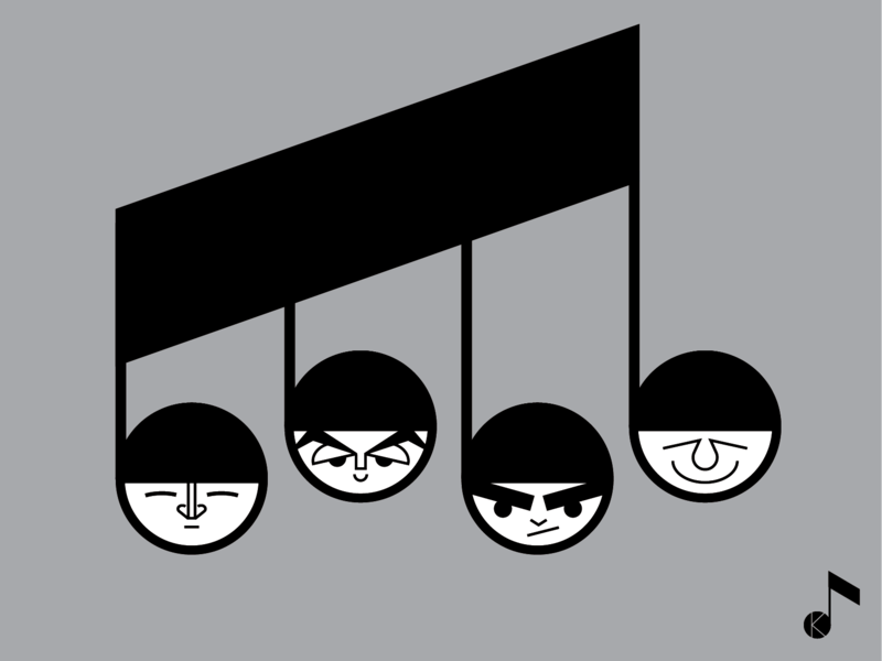 The Beatles for Instagram Vectober 2018 illustrator vector black and white inktober vectober instagram fabfour music thebeatles caricature humour character design art illustration