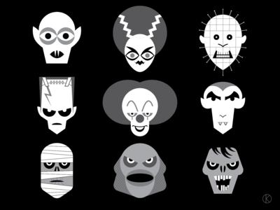 Halloween monsters for Instagram Vectober 2018
