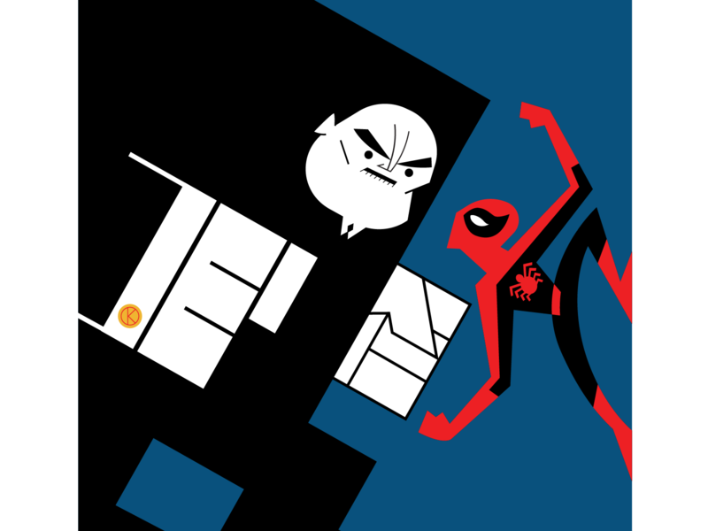 Kingpin And Spidey spidey character design illustrator vector illustration comics marvelcomics marvel kingpin spiderman