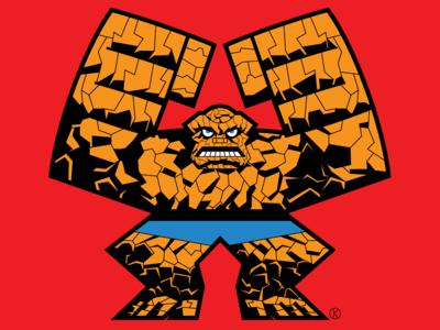The Thing sci-fi superheros the thing fantastic four comics marvel character design illustrator vector illustration