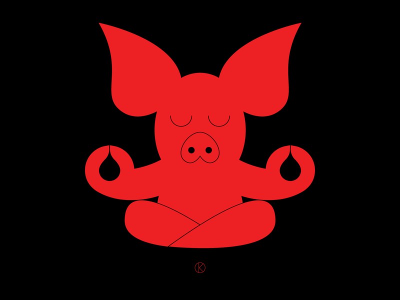 Chinese Year Of The Pig 2019 meditating meditation pig red chinese new year chinese culture chinese character design illustrator vector illustration