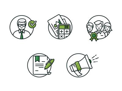 Icons dark green pen bullhorn badge character green illustration web icons