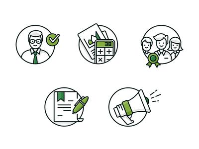 Icons dark green pen bullhorn badge character green illustration web icons