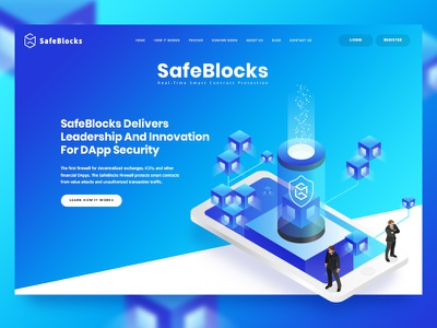 SafeBlocks website poppins font one pager contract security blockchain blue isometric web