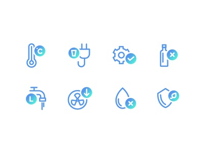 Icons For Watergen - 2 line icon set blue icon icons web vector design