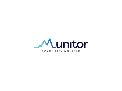 Munitor typography web design blue logo
