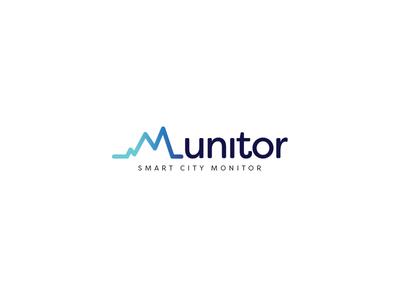 Munitor typography web design blue logo
