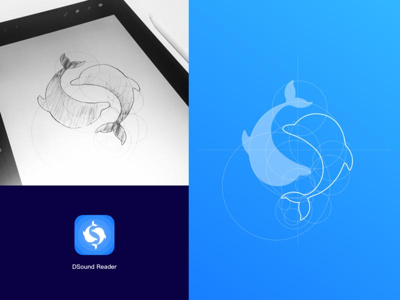 Dsoundreader Logo double sound dolphin ui logo blue app illustration design