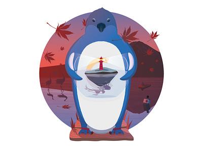 Lighthouse gift maple leaf illustration gin crane fuji mount fuji tokio penguin lighthouse