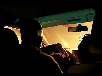 Night Ride illustraion black green shadow lighting way reflection colour design vector car life waking