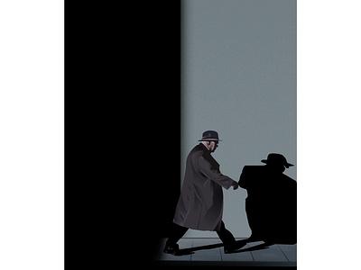 Way to home artist gfxmob design art design art illustrator illustraion life dark old man jacket hat follow work shadow ligts home night walk