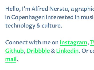 alfrednerstu.com web design personal site portfolio