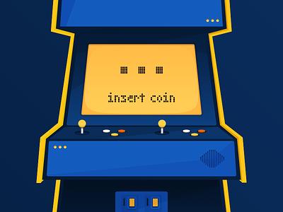 Coin-op arcade illustration ap retro flat vector coin op
