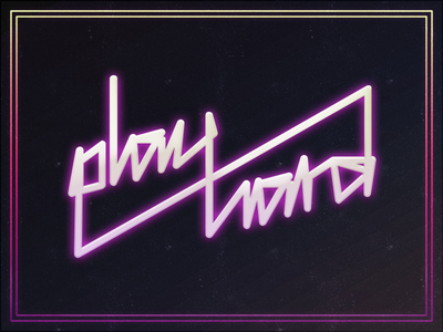 play hard 80s neon poster illustration typography play hard