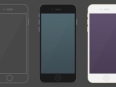 Free iPhone6 flat mockup iphone7 apple freebie mockup psd photoshop outline flat iphone 6 plus