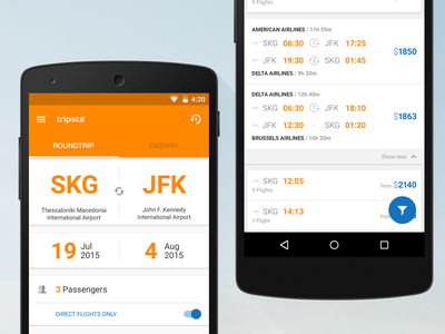 Tripsta Android app ui design wip tickets travel material nexus mobile tripsta android