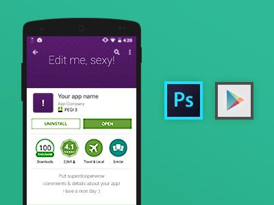 Playstore Feature Image GUI freebie nexus app smart feature image photoshop gui free playstore android