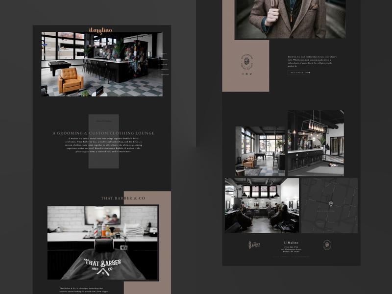 Barbershop / Custom Tailor Website single page website visual design website design ui design ux design