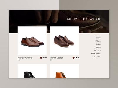 E-Commerce Footwear Interaction Mockup