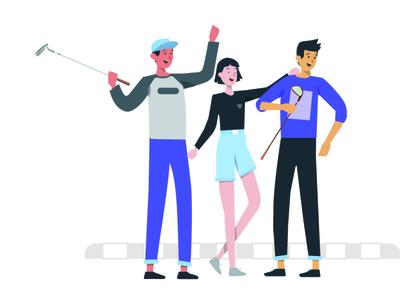 golf animation vector app web ux typography illustrations logo environment branding