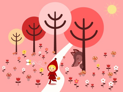 Little Red Riding hood book branding designs illustrations vector environment design