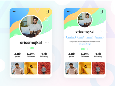 DailyUI #4 - Profile Page: Social Color Blast ux design social app branding ui  ux menu bar daily ui 001 daily daily ui posts following followers networking lilee systems networking profile instagram color social media media social