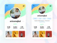 DailyUI #4 - Profile Page: Social Color Blast