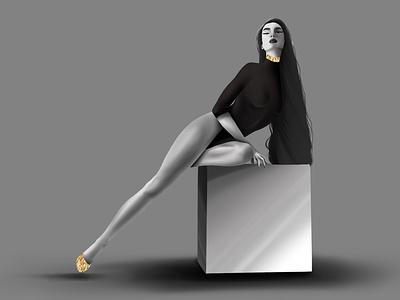 Black and White models women designers women designers women illustrators procreate illustrator graphic  design graphic design art creativity illustration design