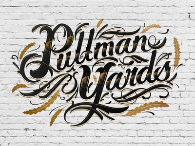 Pullman Yards Lettering meandgonzo type mural brick wall floral heritage americana gold leaf hand lettering script lettering script typogaphy eric waetzig