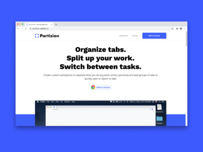 Partizion Hero Design chrome extension landing page design landing page hero section hero image