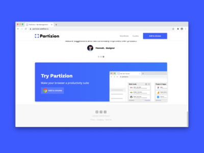 Partizion Footer Design productivity app chrome extension landingpage footer design footer