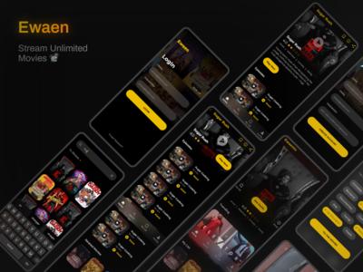 Ewaen Mobile Slideshow mobile app design uiux design yellow dark mode africa netflix streaming app movies app movie